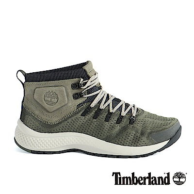 Timberland 男款FlyRoam Trail深綠色中筒布面靴