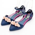 River&Moon防水鞋-晴雨二穿Q軟花花繫踝尖頭平底鞋-藍