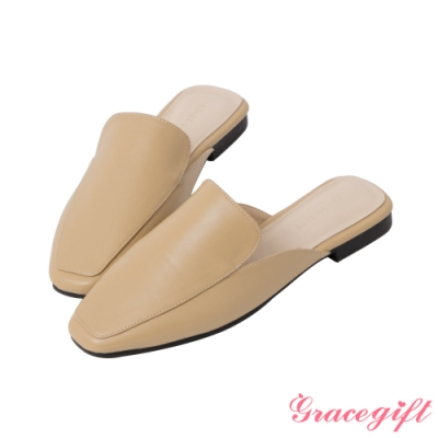 Grace gift-素面方頭低跟穆勒鞋 淺駝