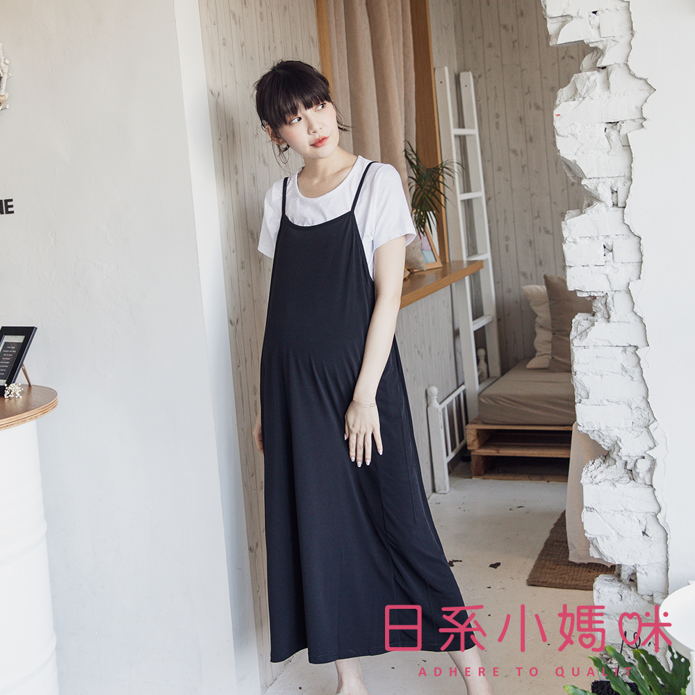 日系小媽咪孕婦裝-韓製孕婦裝~二件式涼感滑布素面後腰抽繩吊帶洋裝