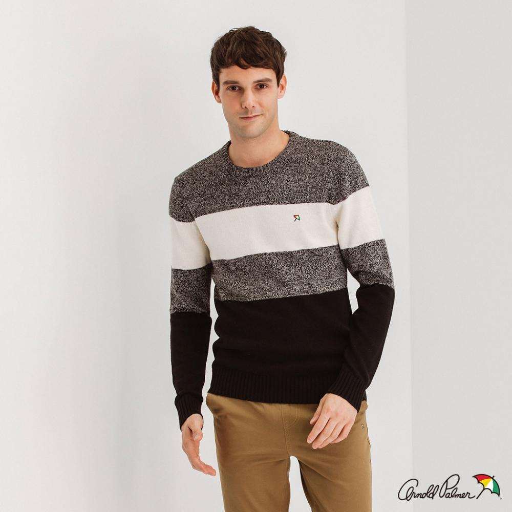 Arnold Palmer -男裝-色塊拚色配條休閒針織衫-灰色