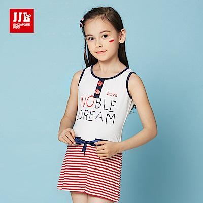 JJLKIDS 條紋拼接造型綁帶無袖洋裝(大紅)