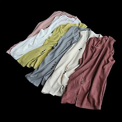 棉針織衫背心無袖開叉T恤內搭上衣-設計所在