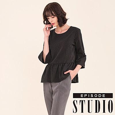EPISODE Studio -  條紋傘擺荷葉設計上衣(黑)