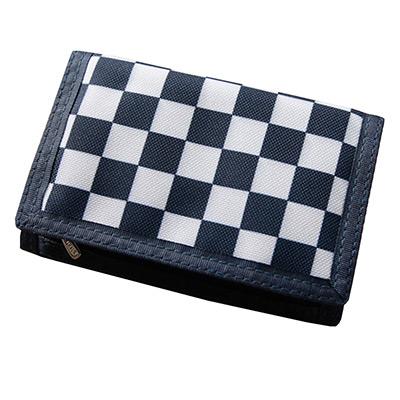 AmaZing 棋盤格清新學生三折式帆布短夾 (5色任選)
