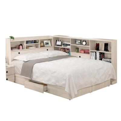 文創集 漢斯森5尺床台(二色+床頭箱+床底+側邊櫃+無床墊)-175.5x211x106免組