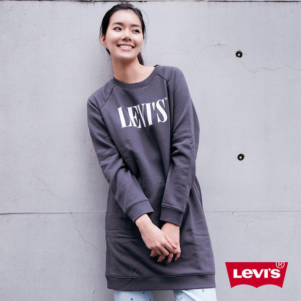 Levis 女款 長版大學T洋裝 Serif Logo 內刷毛
