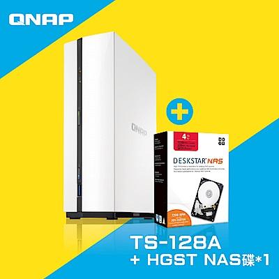 QNAP TS-128A網路儲存伺服器+HGST 4TB NAS專用硬碟