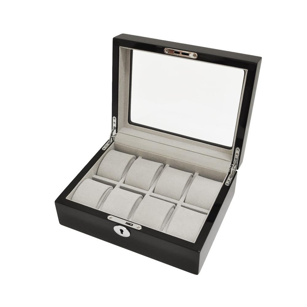 WISH 手錶收藏盒/外出盒 ‧鋼琴烤漆方型 8只裝-黑