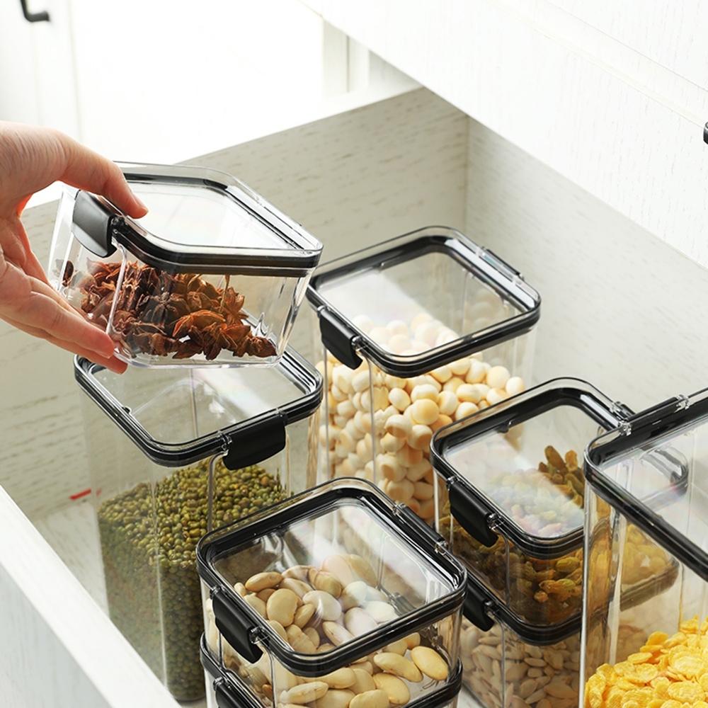 [荷生活]日式密封防潮罐 五殼雜糧茶葉意大利麵收納盒 透明可疊加設計-460ml-4個