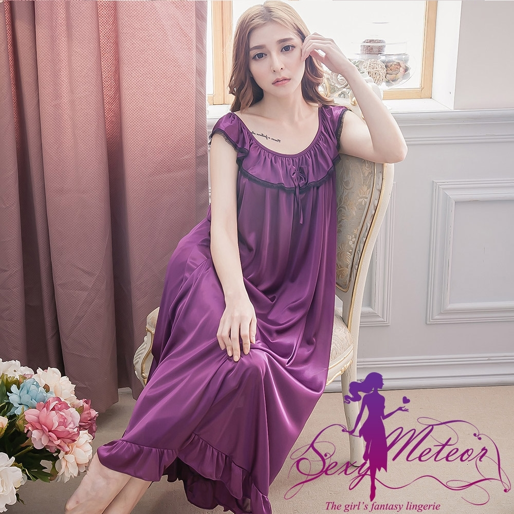睡衣 全尺碼 冰絲蕾絲滾邊蝴蝶結短袖連身裙睡衣(美夢深紫) Sexy Meteor