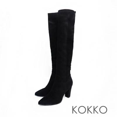 KOKKO - 視覺顯瘦尖頭粗跟皺摺長靴 - 黑色