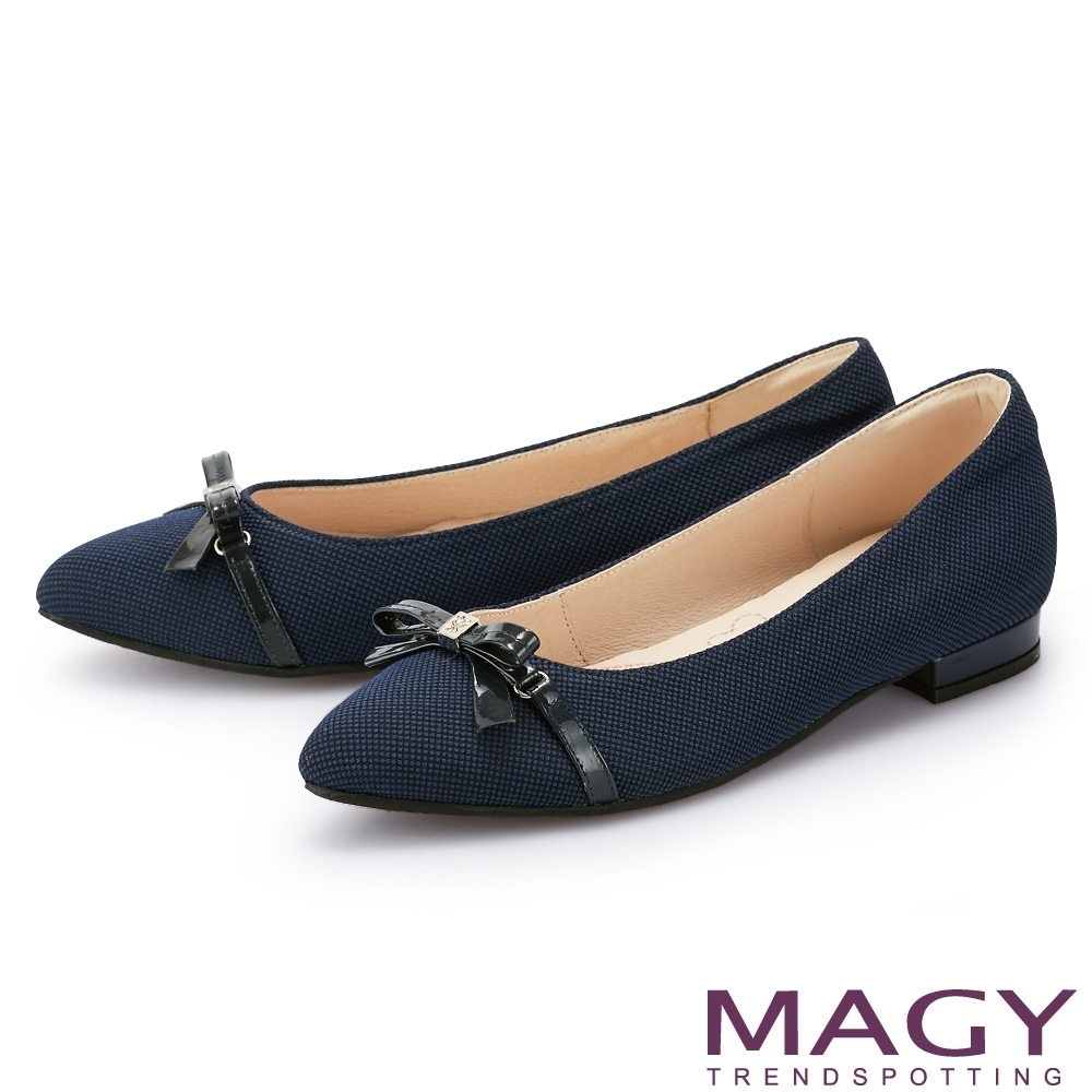 MAGY 細版皮革蝴蝶結尖頭 女 平底鞋 藍色