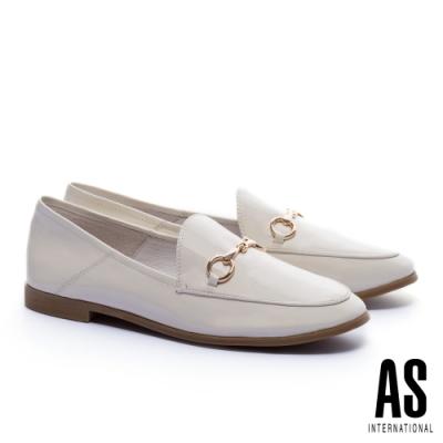 低跟鞋 AS 復刻經典時尚馬銜釦全真皮樂福低跟鞋-白