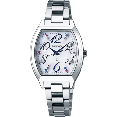 SEIKO精工 LUKIA晶鑽太陽能電波手錶SSVW081J-白X銀/28mm