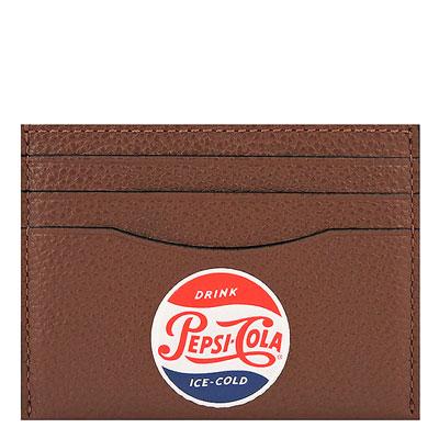 COACH 咖啡色荔枝紋皮革證件名片夾