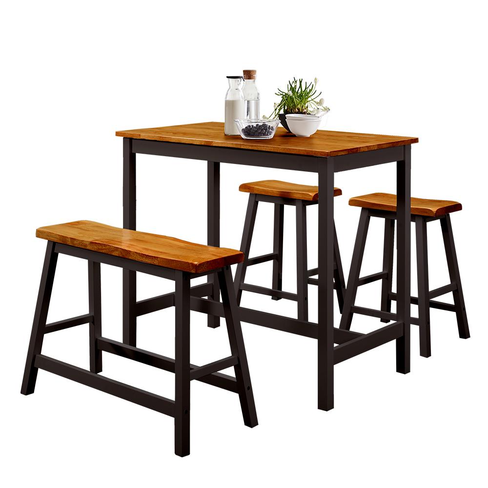 【AT HOME】美式輕工業胡桃黑色/原木白色吧台桌椅組(一桌三椅)兩色可選 @ Y!購物