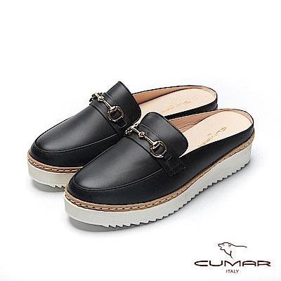 CUMAR悠遊輕井澤- 經典馬銜扣半包後空穆勒休閒鞋-黑