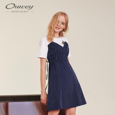 OUWEY歐薇 貓咪貼繡假兩件條紋洋裝(藍)