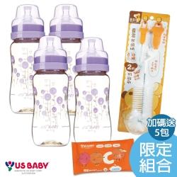 優生真母感PPSU瓶寬口330ml*4入組(送嬰兒維生素C濕巾1