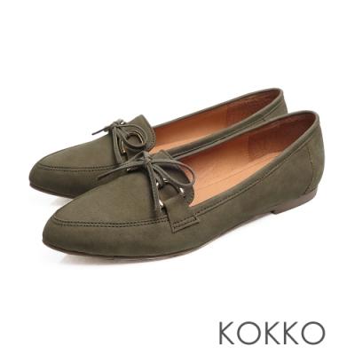 KOKKO - 隨風飄盪蝴蝶結真皮尖頭平底鞋-森林綠