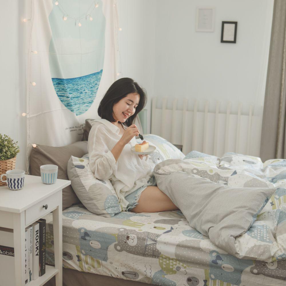 翔仔居家 台灣製 100%精梳棉枕套&床包2件組-熊森森 (單人)