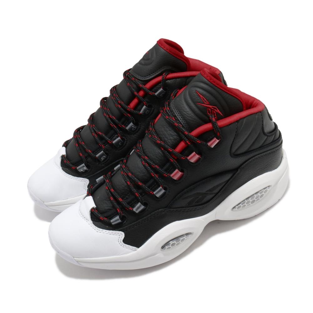 Reebok 籃球鞋 Question Mid 運動 男鞋 經典 明星款 復古 舒適 皮革 穿搭 黑 紅 FZ1365