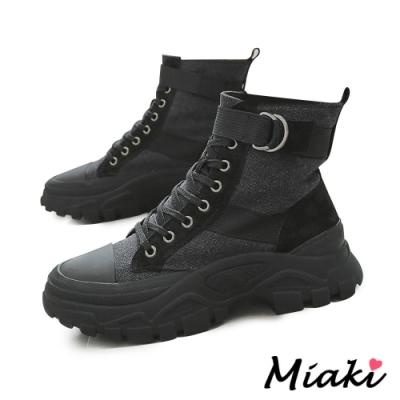 Miaki-短靴韓風潮流厚底登山靴-黑