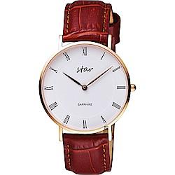 STAR 時代 城市情人羅馬石英女錶-白x咖啡色錶帶/36mm