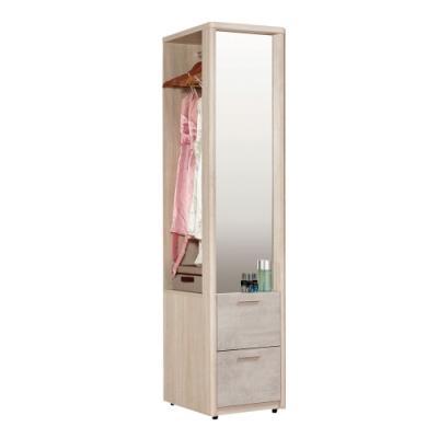 文創集 杜蜜拉 現代1.4尺鏡面二抽開放衣櫃/收納櫃-42.2x60x200cm免組