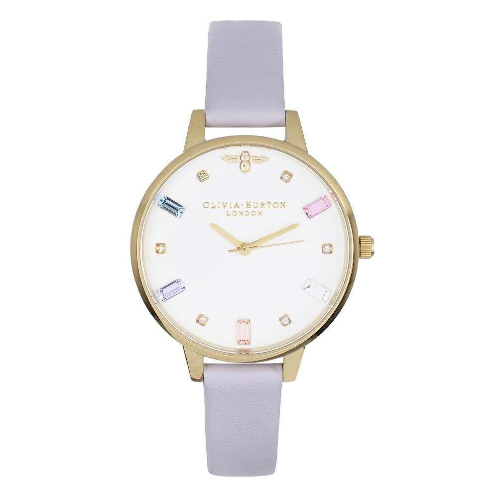Olivia Burton 英倫復古手錶 彩虹與蜜蜂 粉紫色真皮錶帶金框34mm