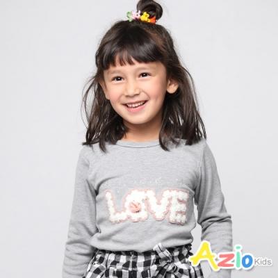 Azio Kids 女童 上衣 英文字母毛線珠珠立體玫瑰上衣 (灰)