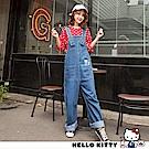 復古Kitty圖案牛仔寬鬆男友吊帶褲-OB大尺碼