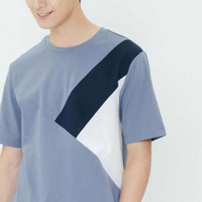 H:CONNECT 韓國品牌 男裝-幾何畫破圖像上衣-深藍