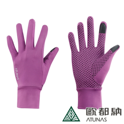 【ATUNAS歐都納】女款冰絲涼感防曬透氣手套A1AGAA05N桃紅/騎車配件/戶外活動