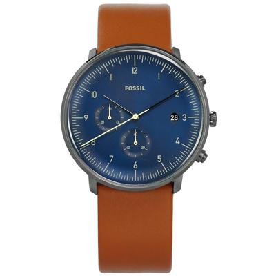 FOSSIL 礦石強化玻璃計時日期日本機芯真皮手錶-藍x灰框x咖啡/42mm