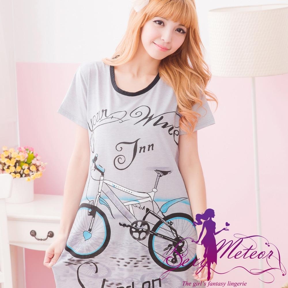 居家睡衣 全尺碼 腳踏車圖T恤式居家連身短袖睡衣(俏麗黑) Sexy Meteor