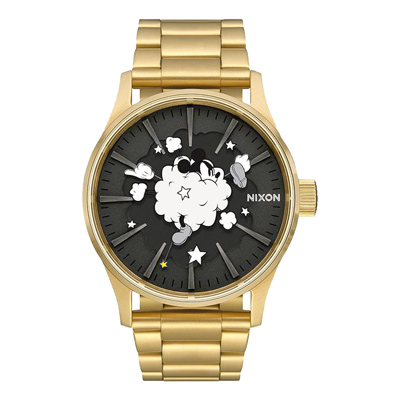 NIXON Mickey 90週年聯名回憶片段紀念腕錶-金(A3563092)-42mm