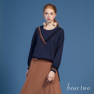 bear two- 裝飾V領長袖上衣 - 藍