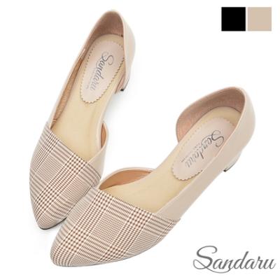 山打努SANDARU-尖頭鞋 千鳥格紋側簍空低跟鞋-米