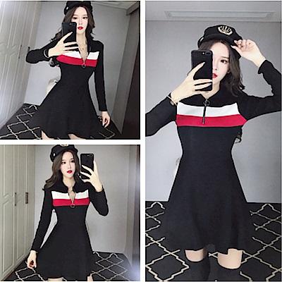 DABI 韓系領口拉鏈修身收腰針織撞色長袖洋裝