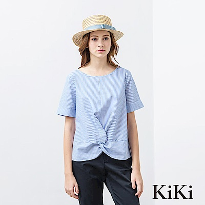 KiKi INLook 條紋扭結短上衣(二色)