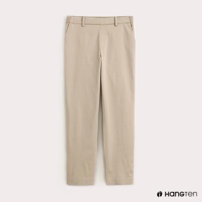 Hang Ten-女裝素面TAPERED FIT九分褲-卡其