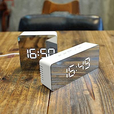 長方形-多功能鏡面時鐘 LED數字鬧鐘 化妝鏡