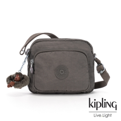 Kipling 極簡深卡其灰色前袋拉鍊側背包-HUBEI CRBNGREYTL