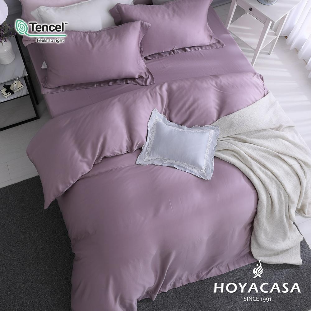 【HOYACASA】法式簡約300織抗菌天絲兩用被床包組-(雙人/加大任選)+贈兩枕 (千黛紫)