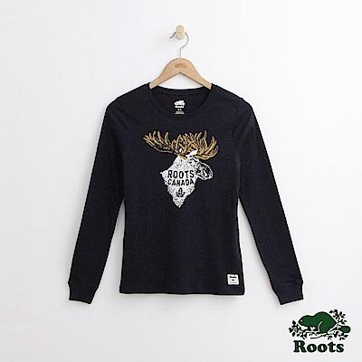 Roots -女裝- 手繪風動物修身長袖上衣 - 藍