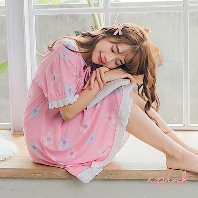 i PINK 清新甜夢 冰絲棉涼感連身裙居家服睡衣(粉底花朵)