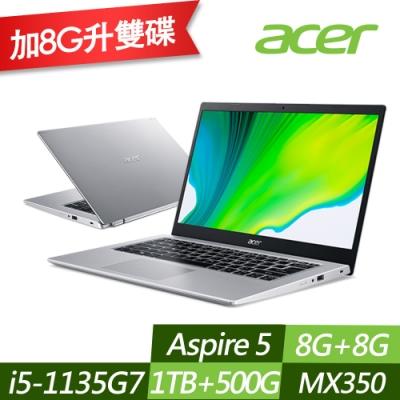 ACER 宏碁 A514-54G-5752 14吋效能筆電 i5-1135G7/MX350 2G獨顯/8G+8G/1TB+500G PCIe SSD/Win10/特仕版