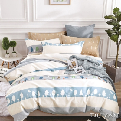 DUYAN竹漾-100%精梳棉/200織-雙人床包三件組-早安森林 台灣製